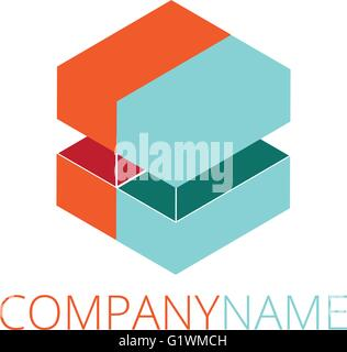 Modern abstract logo design, business icon. Geometric emblem - Stock Photo