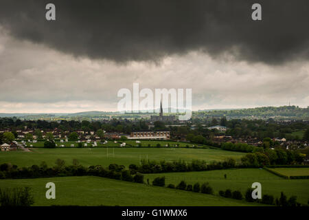 View of the Cathedral and City of Salisbury from Old Sarum, Wiltshire, UK - Stock Photo