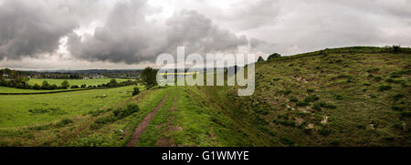 Panorama of Old Sarum Iron Age Hill fort near Salisbury, Wiltshire, UK - Stock Photo