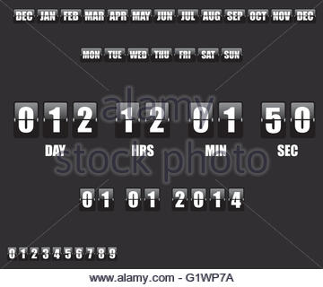 Countdown Timer and Date on black background - Stock Photo
