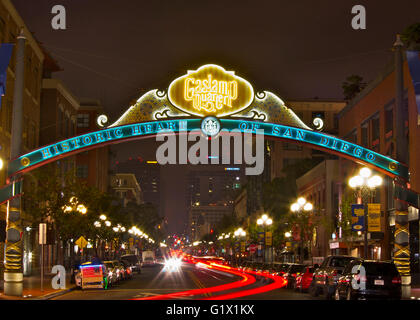 Night photo of the Gaslamp Quarter in San Diego with light trails - Stock Photo
