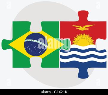 Brazil and Kiribati Flags in puzzle isolated on white background - Stock Photo