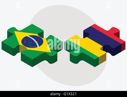 Brazil and Mauritius Flags in puzzle isolated on white background - Stock Photo