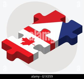 Canada and Sint Maarten Flags in puzzle isolated on white background - Stock Photo