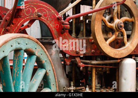 Old steam fire engine on display at train museum. Southeastern Railway Museum - Stock Photo