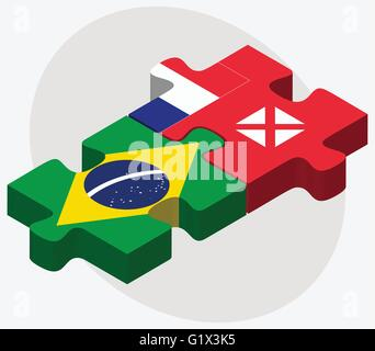 Brazil and Wallis and Futuna Flags in puzzle isolated on white background - Stock Photo