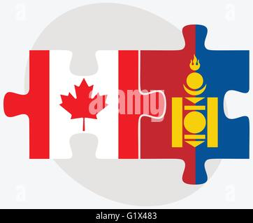 Canada and Mongolia Flags in puzzle isolated on white background - Stock Photo