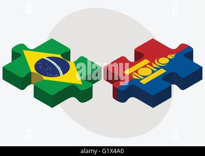Brazil and Mongolia Flags in puzzle isolated on white background - Stock Photo