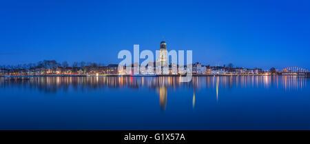 Panorama Deventer Skyline along river IJssel in The Netherlands - Stock Photo