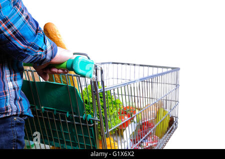 Man pushing shopping cart full of food isolated white. Elevated rear view. horizontal composition. - Stock Photo