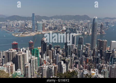 Skyscraper, skyscrapers in Central district, Victoria Harbour and Kowloon West, view from The Peak, Victoria Peak - Stock Photo