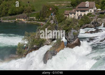 Rheinfall, Rhine Falls near Schaffhausen, Canton of Schaffhausen, Switzerland - Stock Photo