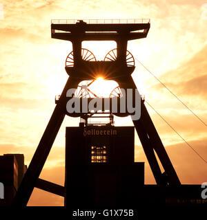 Headframe mine Zollverein Shaft XII, Essen, Ruhr district, North Rhine-Westphalia, Germany - Stock Photo