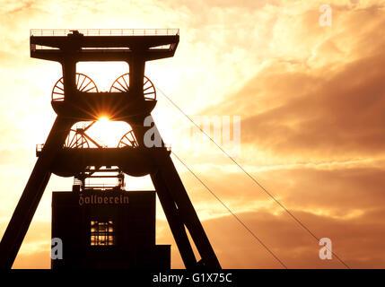 Headframe, mine Zollverein Shaft XII, Essen, Ruhr district, North Rhine-Westphalia - Stock Photo