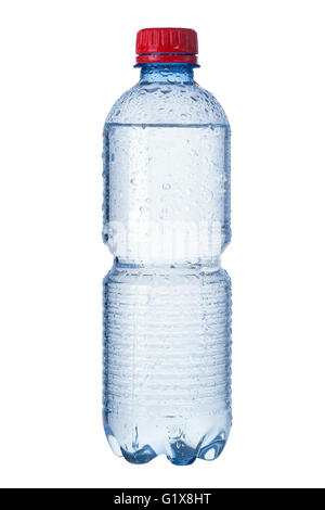 Photo of a bottle of mineral water.  Water droplets are visible and clipping path is included. - Stock Photo