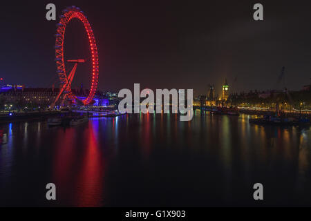 London cityscape at night, illuminated by lights - Stock Photo