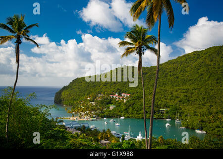 Elevated view of Marigot Bay, St. Lucia, West Indies - Stock Photo