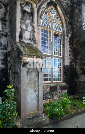 Window and buttress, Saint Johns Parish Church, Barbados, West Indies - Stock Photo