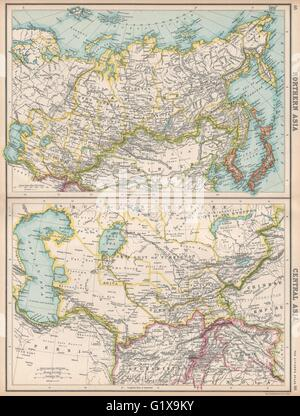 NORTH & CENTRAL ASIA. Siberia Japan Korea Khiva Bokhara Turkistan, 1912 map - Stock Photo