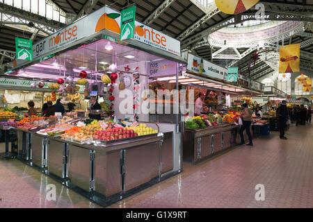 Valencia, Spain. Fruit stall in the historic Central Market, Mercado Centrál. - Stock Photo