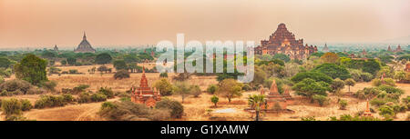 View from the Shwesandaw in Bagan. Myanmar. Panorama - Stock Photo
