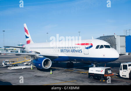 Dublin, Ireland - 01 February, 2015: British Airways passenger planes stand at their gates at Dublin Airport, Ireland - Stock Photo