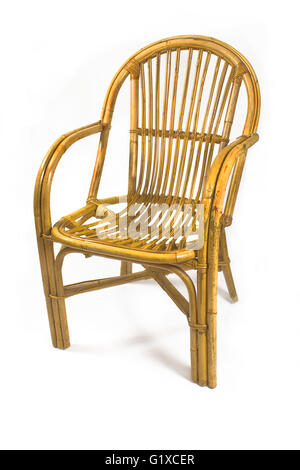 Chairs made of rattan isolated on white - Stock Photo