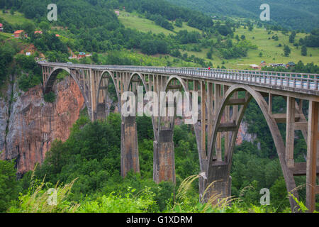 Montenegro.  Durmitor National Park.  The Tara Bridge crossing the Tara River and Tara Canyon. - Stock Photo