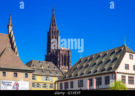 Ancienne Douane, former customs house, historical museum and cathedral, Strasbourg, Alsace, France - Stock Photo