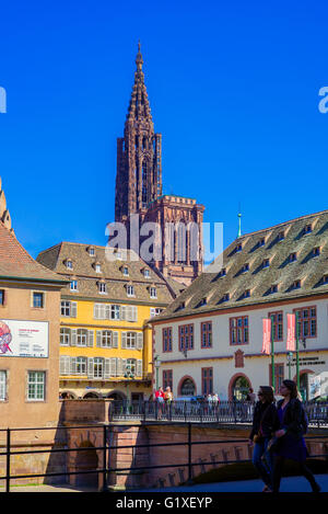 Historical museum and cathedral, Strasbourg, Alsace, France - Stock Photo