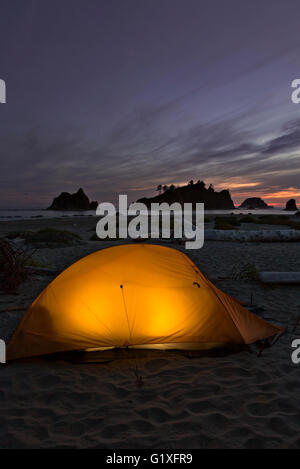 WA12621-00...WASHINGTON - Evening at campsite on Toleak Point on the Pacific Coast in Olympic National Park. - Stock Photo