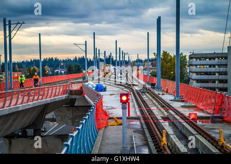 Sound Transit Link light rail train entering the Stock ...