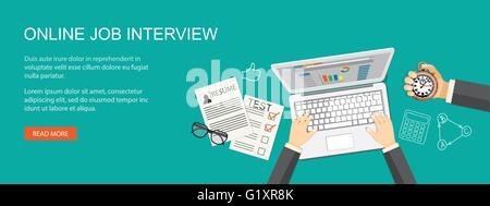 Flat  vector illustration. Hand with laptop, resume, stopwatch  and hand drawn business symbols. EPS 10 - Stock Photo