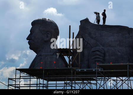 Prague, Czech Republic. 20th May 2016. Huge head of Soviet dictator Joseph Stalin rising over Letna Park in Prague, - Stock Photo