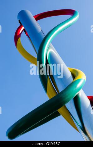 Ago filo e nodo, needle thread and knot, Milan - Stock Photo