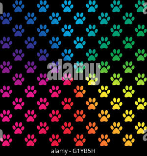 Paw prints in gradient rainbow colors, on black background - Stock Photo