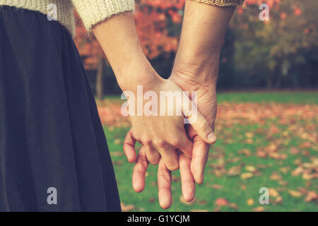 Close up on a couple holding hands in the park in autumn - Stock Photo
