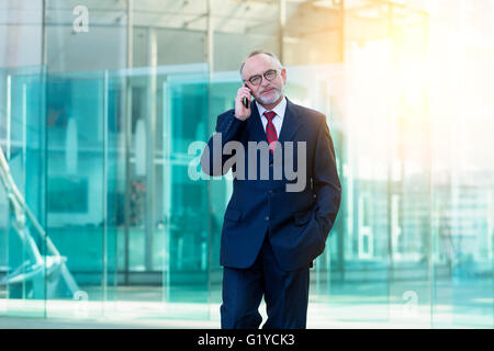 Businessman talking on mobile phone - Stock Photo