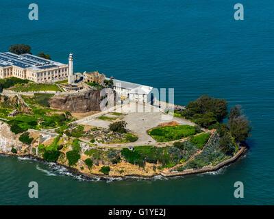Prison Island Alcatraz, Alcatraz Island with Lighthouse, Aerial view, San Francisco, San Francisco Bay Area, California, - Stock Photo