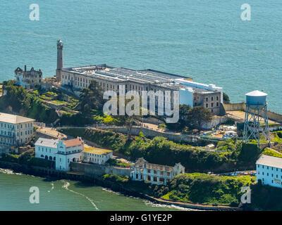 Prison Island Alcatraz, Alcatraz Island, Aerial view, San Francisco, San Francisco Bay Area, California, USA - Stock Photo
