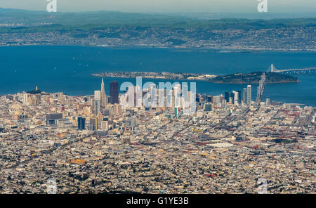Aerial view, looking San Francisco from the south, South San Francisco, San Francisco Bay Area, USA, California, - Stock Photo