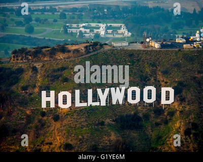 Hollywood sign on Mount Lee Drive, Hollywood Hills, Los Angeles, Los Angeles County, California, USA - Stock Photo