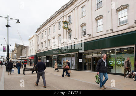 Marks and Spencer clothes shop in the High Street in Cheltenham, Gloucestershire, UK - Stock Photo
