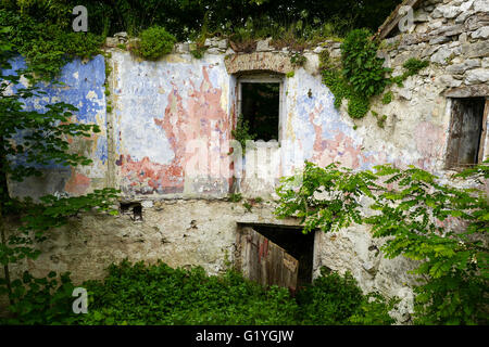 Old derelict stone houses in Pican Istria Croatia - Stock Photo