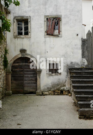 Derelict old house in Pican Istria Croatia - Stock Photo