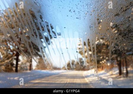 Bad view through car window. - Stock Photo