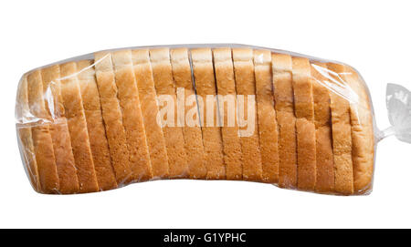 Sliced Bread In A Plastic Bag On White Surface Stock Photo