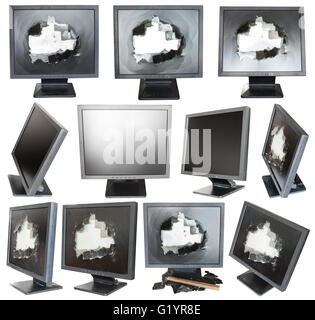 set of old black LCD monitors with broken screens isolated on white background - Stock Photo