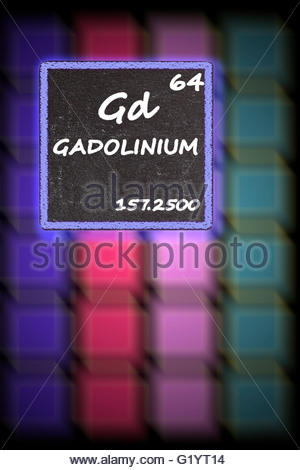 Gadolinium  - details from the periodic table - Stock Photo