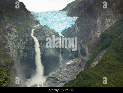 scenic view on glacier ventisquero calgante with waterfall in chilean patagonia on the road Carretera austral - Stock Photo